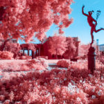 Statuary in infrared at the Huntington Garden